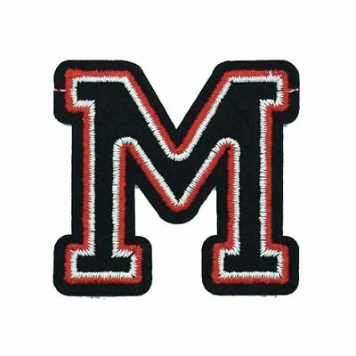 Black and Red Letter M (Iron On) Embroidery Applique Patch Sew Iron Badge