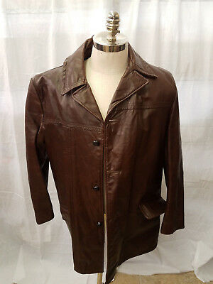 Montgomery Wards Vintage Brown Leather Men's Jacket with Zipper Fur Lining 44L