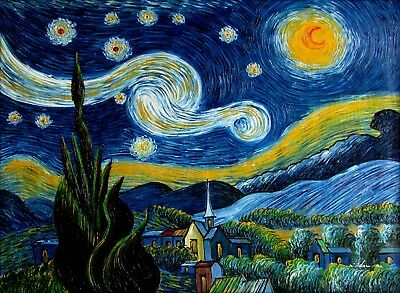 Vincent Van Gogh Starry Night Repro, Quality Hand Painted Oil Painting 36x48in