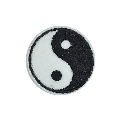 Black White Yin Yang (Iron on) Embroidery Applique Patch Sew Iron Badge