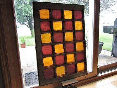 SCHOOL COLORS Primitive Stained Glass Windows Victorian Old Gold Red? Wavy Glass