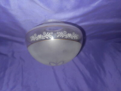 "Vintage Glass Ceiling Light Fan Globe Shade Frosted / Clear Floral 3"" Fitter Exc"