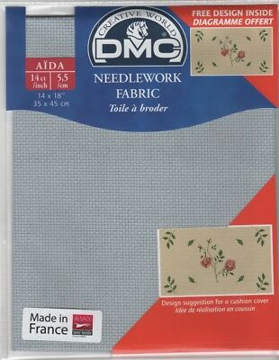 "DC27/415 Pack of DMC 14 count Grey Aida approx size 35 x 45cm (14 x 18"")"