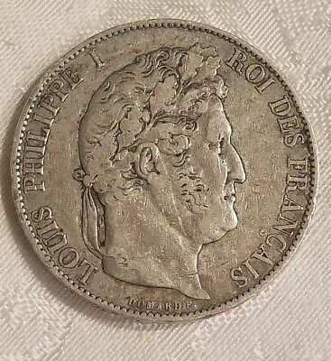 Antique 1846 French 5 Franc Coin Louis Philippe 1