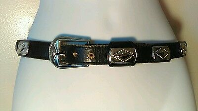 "Vintage Western Ornate Black Leather Belt w/ Silver Plates Size 36"" Womens"