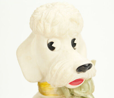 "Vintage Poodle Coin Bank - 8"" White Plastic Dog Figure"