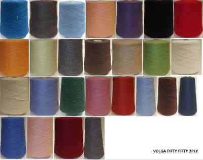 Yeoman Yarn VOLGA FIFTY FIFTY 3PLY 350g Hand / Knitting Machine Choice of Colour