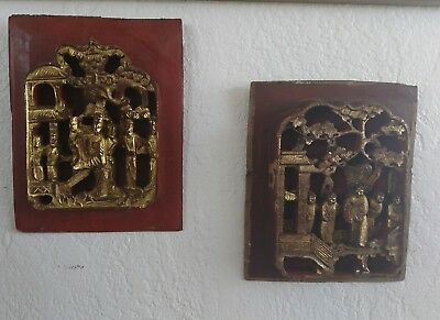 Two Antique Chinese Qing dynasty Hand Carved Wood Temple Panel Gold Gilt