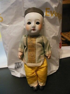 Vintage Traditional Chinese  Man Doll- Porcelain Head, Hand Painted, 1930's