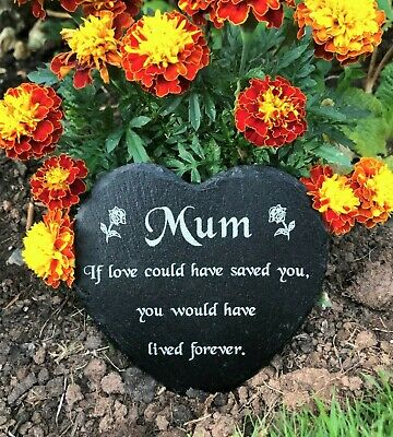 Engraved Slate Heart Memorial Grave Marker Plaque Mum Mothers Day Remembrance ❤