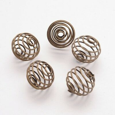 280PCS Iron Spiral Bead Cages Round Nickel Free Antique Bronze for Pendants