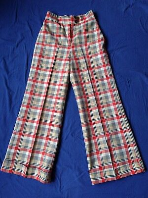 Vintage Retro Plaid Poly Pant-Her Pleated Pants Slacks High Waist 1970's Small