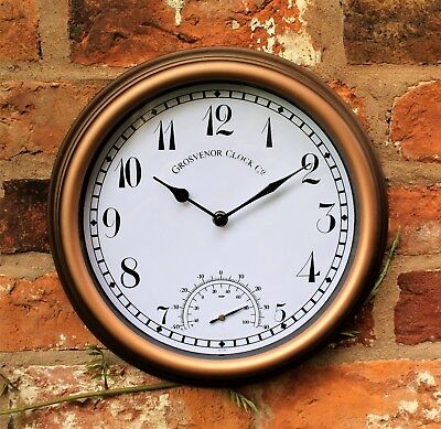 Outdoor Garden Wall Clock with Thermometer  Meter 12inch rust colour Arabic
