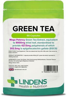 Green Tea Capsules Extract Weight Loss Fat Burner  9000mg 60 Caps Lindens