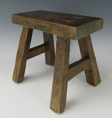 "A Chinese Antique style Hard Wood 4-Leg Stool chair 9""H"