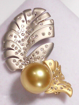 13.8mm golden South Sea pearl pin/pendant, diamonds, solid 18k W/Y gold.