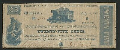 Corporation of Winchester - Winchester, Virginia - Twenty-Five Cents - 1861