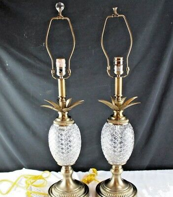 Vintage Pair Dale Tiffany Crystal and Brass Pineapple Antique Brass Table Top La