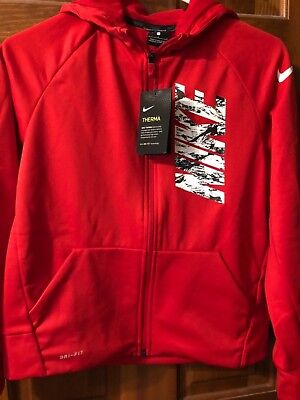 NWT Boy's Nike Therma Dri-Fit Front Zip up Hoodie Size L 856138-658