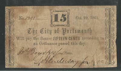 The City Of Portsmouth, Virginia - Fifteen Cents - October 29, 1862