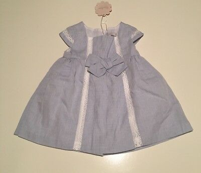 Brand New Baby Girls Blue & White Lace Cotton Sundress Size 12 months BNWT