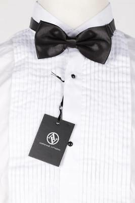 New Tuxedo Shirt Vittadini 2xl With Bow Tie Wing Tip 1/8 Pleat Formal Shirt