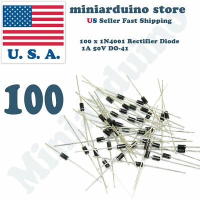 100PCS 1N4001 IN4001 DO-41 1A 50V Rectifier Diode