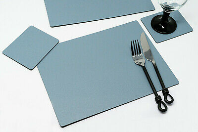 Set of 6 VINTAGE GREY Bonded Leather PLACEMATS & 6 COASTERS, 12-PCS, MADE IN UK