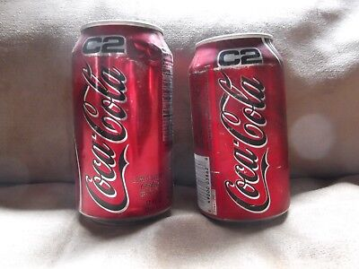2-Coca Cola C2 Cans One Unopened