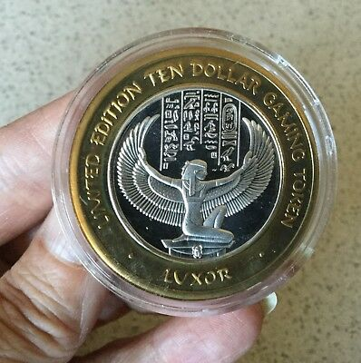 Limited Edition Luxor Winged Isis $10 Limited Edition Silver Gaming Token