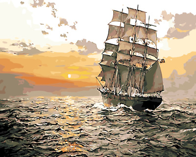 Paint By Numbers Kit Canvas 50*40cm 8007 Ocean Sunset Sailing AU Shipping
