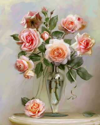 Paint By Numbers Kit Canvas 50*40cm 8183 Pink Flowers Vase AU Shipping