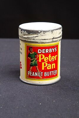 Antique Derby's Peter Pan Peanut Butter Free Sample Tin Litho Can