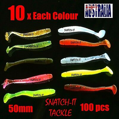 100  Soft Plastic Fishing Lure Tackle  50mm Paddle tail Grub Worm bream lures
