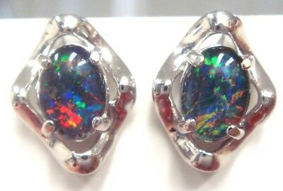 Australian Opal Natural Black Triplet Opal Earring With Solid Silver Set 8.35cts