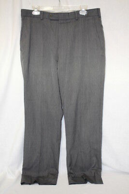 BROOKS BROTHERS Regent 100% Wool Gray Flat Front Dress Trousers Mens 35/32-B121