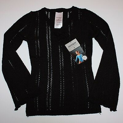 Danskin Ballet Dance Black Cover Up Pointelle Sweater Child I 6X 7 NWT