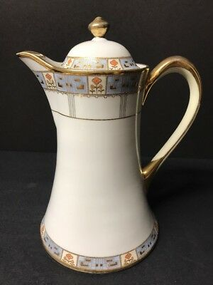 "VTG Hand painted Gold Trim Elegant RC Nippon Floral Chocolate Pot 9"" IN Tall"