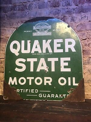 Antique 1932 Quaker State Porcelain Tombstone Sign 26.5 X 29 Double Sided