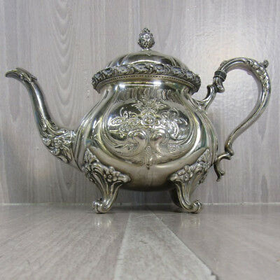 Wilcox International Silver Dubarry Chased Silver Plate Tea Pot Teapot