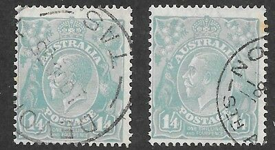 KGV    1/4-  BLUE  C of A WATERMARK    FINE USED   2 STAMPS