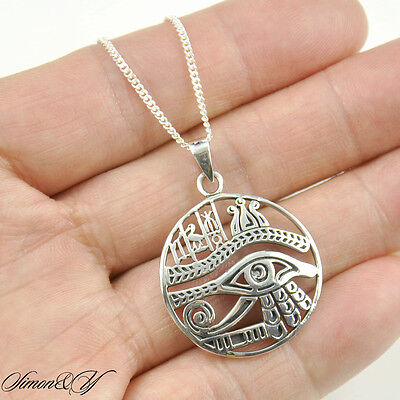 Antique Sterling Silver Round Egypt Eye Of Horus Ra Udjat Pendant Necklace 18""