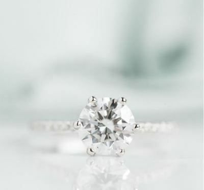Real 14K White Gold 3 Ct Round Cut Moissanite Diamond Solitaire Engagement Ring