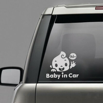 """Chic """"Baby In Car"""" Waving Baby on Board Cute Safety Sign Car Decal PET Sticker"""