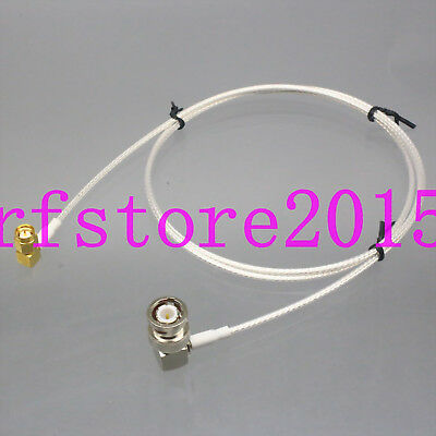 "RG316 3FT RF Coax Test Cable SDI E1 Oscilloscope ""L"" BNC Plug to SMA male RA 50Ω"