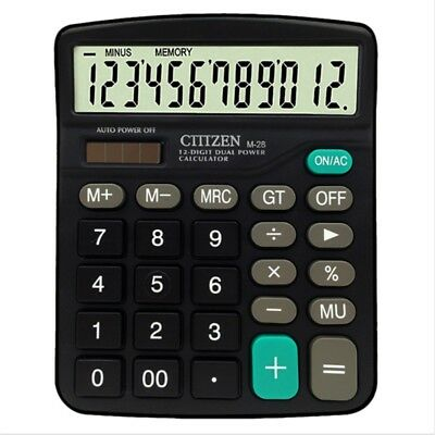 Solar Electronic Desk Calculator Business Battery 12 Digit Extra Large Display