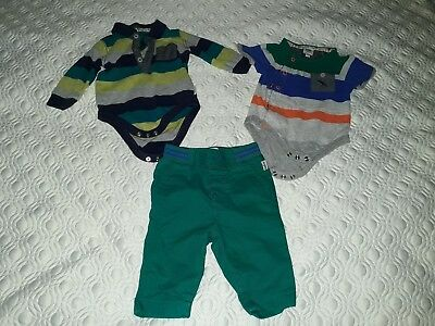 """3 piece baby boy bundle 0-3 months clothes """"ted baker"""" used v good condition"""