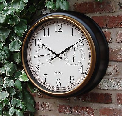 Outdoor Garden steam punk Wall Clock Thermometer & Humidity 45cm  Station 1126