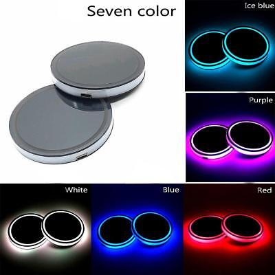 2Pcs LED Car Cup Holder Mat Auto Interior Atmosphere RGB Colorful Light HY