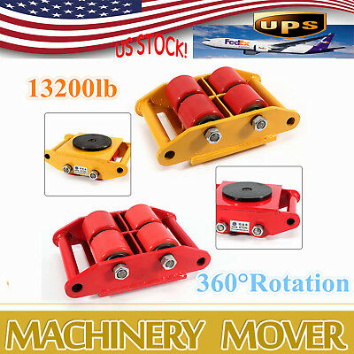 6T Heavy Duty Industrial Dolly Machinery Mover Rollers+360°Rotation Cap 13200lbs